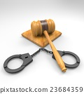 handcuffs and gavel 3d illustration 23684359
