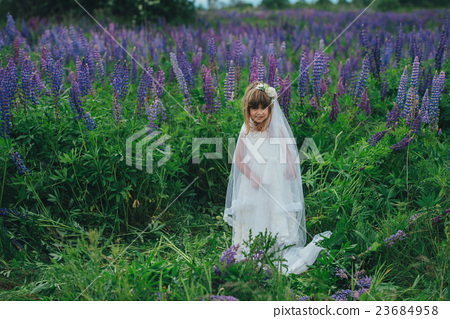 little beautiful girl with bride dress 23684958