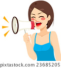 Shouting Woman Megaphone 23685205