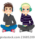 boys, headphones, listening 23685209