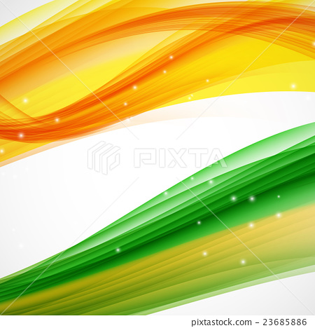 abstract green and orange wave on white background stock
