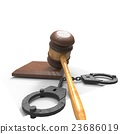 handcuffs and gavel 3d illustration 23686019