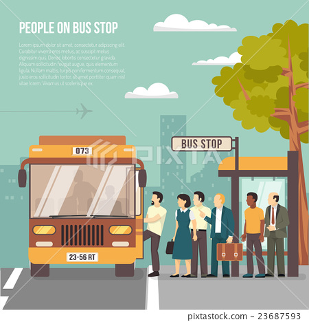 Stock Illustration: City Bus Stop Flat Poster