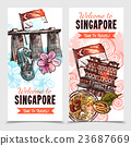 Singapore Sketch Vertical Banners 23687669