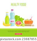 Healthy Food Concept Web Banner Illustration.  23687855