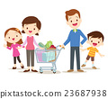 Cute family shopping at market together 23687938