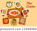 Asian cuisine dinner with thai dishes flat icon 23688988