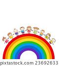Rainbow with children holding hands 23692633