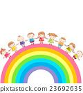 Rainbow with children holding hands 23692635