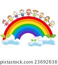 Rainbow with children holding hands 23692636