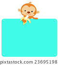 Cute Monkey hold banana and blank board vector 23695198