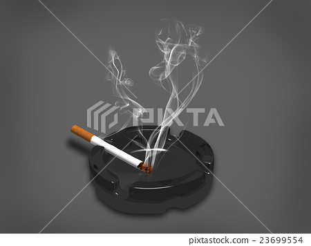 cigarette with smoke on black background,3d render 23699554