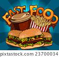 Vintage fast food background 23700034