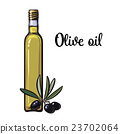 olive oil bottle with black olives 23702064