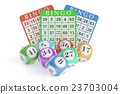 Bingo concept, lottery balls and cards 23703004