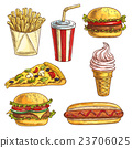 Fast food sketch icons set 23706025