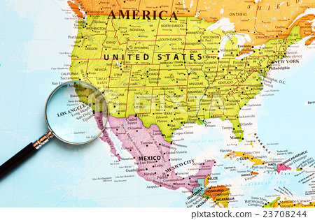 world map map los angeles Stock Photo 23708244 PIXTA