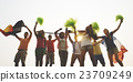 Group Casual People Cheering Outdoors Concept 23709249