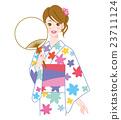ผู้หญิงในชุดยูกาตะและแฟน 23711124