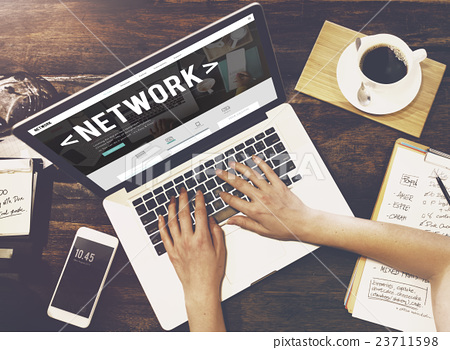 Stock Photo: Network System Online Connection Networking Concept
