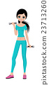 Sports girl with dumbbells 23713260