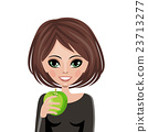 Smiling woman with apple 23713277