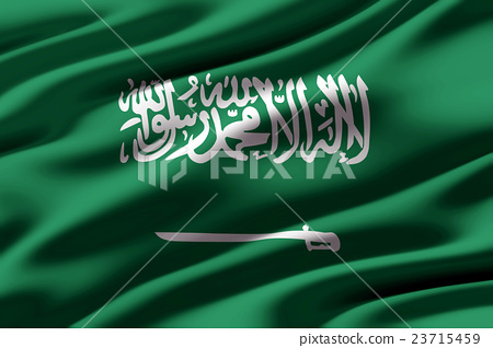 皺摺的沙烏地阿拉伯國旗特寫紋理背景(高分辨率 3D CG 渲染∕著色插圖) 23715459