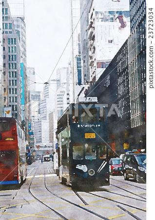 香港香港水彩畫 23723034