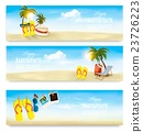 Three summer vacation banners. Vector 23726223