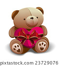 Teddy bear holding a pink heart 23729076