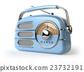 Blue vintage retro radio receiver isolated  23732191
