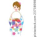 ผู้หญิงในชุดยูกาตะและแฟน 23738098