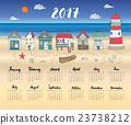 Calendar 2017 Year One Sheet, Vector 23738212
