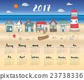 Calendar 2017 Year One Sheet, Vector  23738336