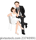 Wedding cartoon, bride pulling on grooms tie 23740991