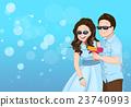 Playful couple cartoon vector with soap bubble gun 23740993