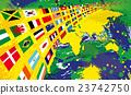 แผนที่โลกสีบราซิลและธงโลก 23742750