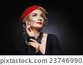 Beautiful lady in red beret 23746990