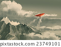 biplane flying over mountain 23749101