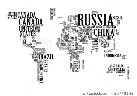 World Map With Countries Name Typography Map Stock Illustration - World map with country names
