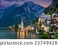 Hallstatt village in Alps and lake at dusk, Europe 23749428