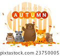 Hello autumn background with wild animals 23750005