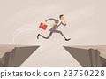 Businessman Jump Over Cliff Gap Mountain 23750228
