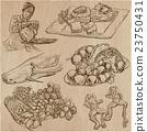 Food around the World - vector set. Hand drawn. 23750431