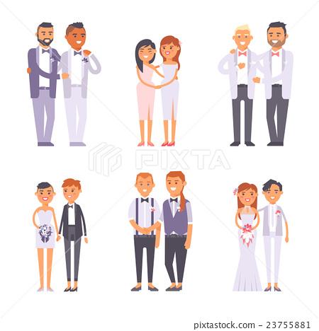 Wedding gay couples vector set. 23755881