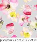Strawberry flowers seamless pattern watercolor 23755939