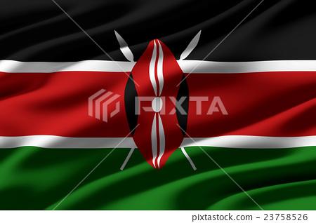 皺摺的肯亞國旗特寫紋理背景(高分辨率 3D CG 渲染∕著色插圖) 23758526