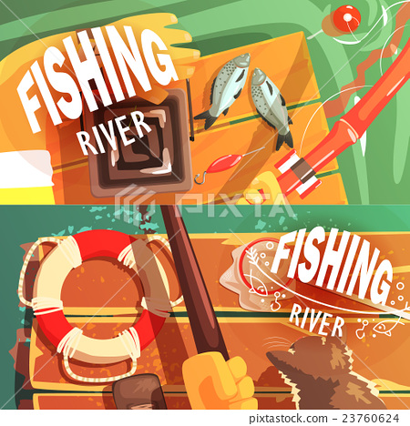 Two Fishing Illustrations With Only Hands Visible 23760624