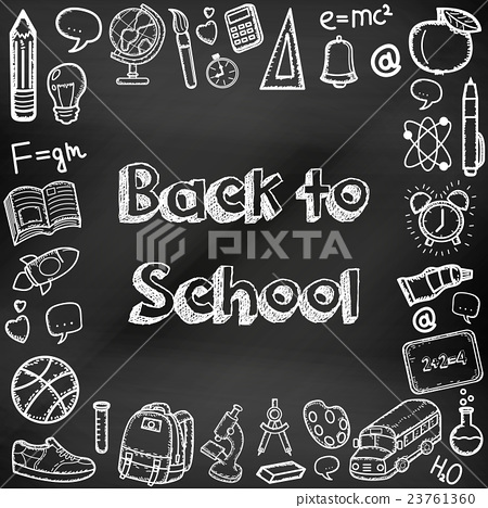 Stock Illustration: Back to school hand drawn doodles on a chalkboard.