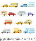 Colorful Rv Minivan With Trailer Set Of Icons 23763315